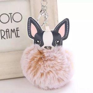 Cute Fluffy Frenchie Dog Pom Pom Keychain